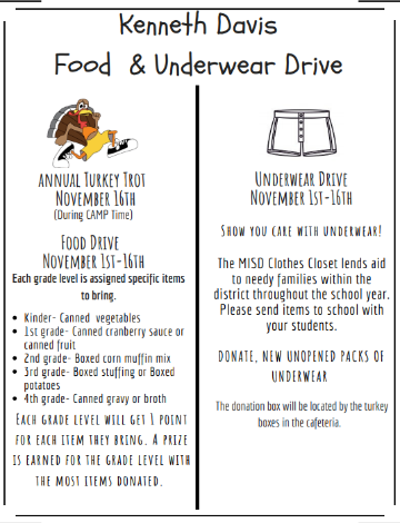 flyer of food and underwear drive
